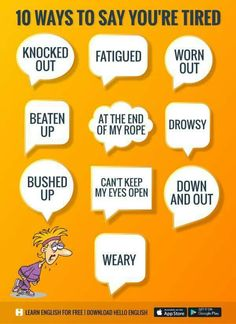 ways to say you're tired Learn English Grammar, English Writing Skills, English Idioms, English Phrases, Learn English Words, English Language Learning, English Lessons, Teaching English, English Vinglish
