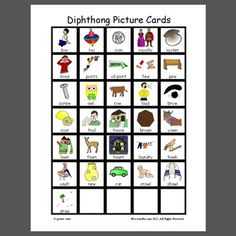Diphthong Picture Cards- pinned by @PediaStaff – Please Visit ht.ly/63sNtfor all our pediatric therapy pins
