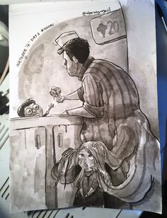 Come and take it! - #Inktober / #Inktober2016 - Day 6 - Theme: #Hidden  #shade #sketch #eskiz #illustration #illüstrasyon #ink #mürekkep #fırça #brush #october #drawing #çizim #instagood #instaart #art #doodle #icecream #monster #creature #kidnap #ugly #icecreamman #children #scary @inktober