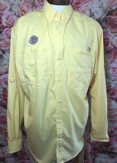 Columbia Men's PFG Extra Large Yellow Button Down Shirt Fishing XL Long Sleeve  | eBay