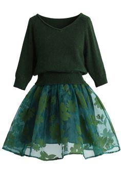 Bonjour Twinset Organza Dress in Green