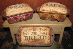While the snow fell outside I was inside making bread...out of muslin of course! How cute are these little loaves to tuck in to your prim decor?