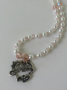 Mother's Day Pearl and Rose Quartz Crystal Beaded Necklace