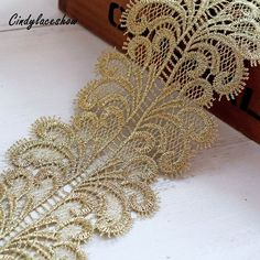 """Unotrim 2/"""" Ivory Organza Netting Beaded Gold Brown Sequins Embroidery Lace Trim"""