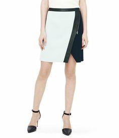 faux wrap color block skirt