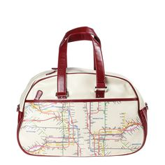 Map Gym Bag Beige Red Trim by NYC Subway Line