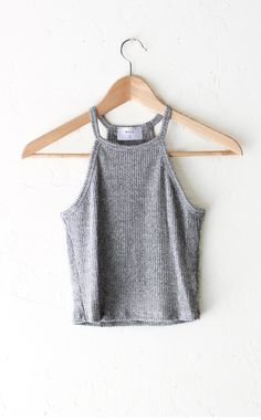 Knit Halter Crop Top - Heather Grey from NYCT
