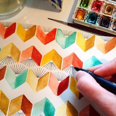 """234 Likes, 20 Comments - Kirsten Sevig (@kirstensevig) on Instagram: """"Just painted and drew a book chevron in my sketchbook. I'm on a roll! #books #chevron #watercolor…"""""""