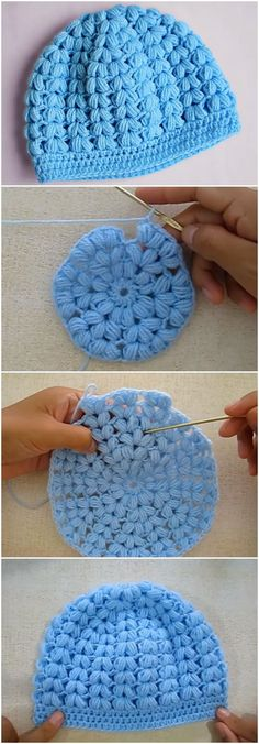 Crochet Puff Stitch Beanie Hat Free Pattern [Video]