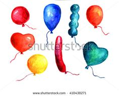 Watercolor hand drawn set with balloons on white background in different shapes.