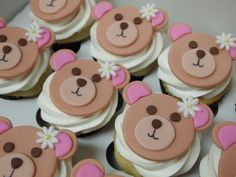 Teddy Bear Cupcakes for baby shower