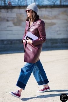 denim culottes with leather coat