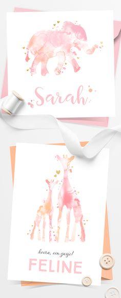 Hip en lieve geboortekaartjes voor een meisje met mooie watercolor dieren en gouden hartjes.