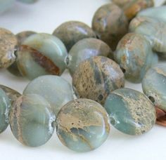 12mm Coin Aqua Terra Jasper Gemstone Beads 16-Inch Strand - Pls use sale coupon and save.