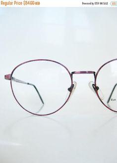 9612549f44e ON SALE Vintage 1980s Round Eyeglasses Dark Rose Metallic Acrylic Frames
