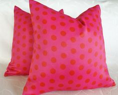Happy sassy pink and red pillows look so yummy on the girls beds! Gorgeous thick and heavy fabric.