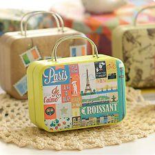 Creative European Style Suitcase Shape Candy Storage Jar Wedding Favor Tin Box