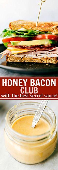 Honey Bacon Clubs -- toasted bread, crisp fresh veggies, smoked turkey, honey ham, center-cut bacon, muenstercheese, and the most incredible SECRET INGREDIENT honey mustard spread! via chelseasmessyapron.com