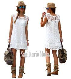 Abito corto bianco smanicato pizzo crochet cotone mini vestito estate primavera