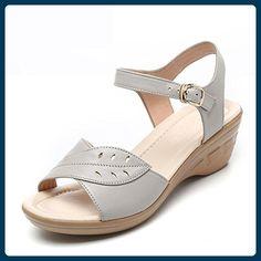 QL@YC Damen Sandalen Sommer Slope Mit Großer Yards Von Nicht Slip Leder Weiche Unterwäsche In Der Damenschuhe , white , 40 - Sandalen für frauen (*Partner-Link)