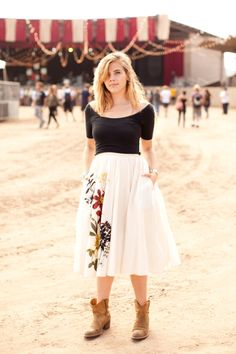embroidered skirt and cowboy boots