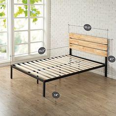 Zinus Sonoma Metal & Wood Platform Bed with Wood Slat Support, Full //http://bestadjustablebed.us/product/zinus-sonoma-metal-wood-platform-bed-with-wood-slat-support-full/