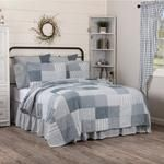 Farmhouse Blocked Quilts Sawyer Mill Blue Patchwork Shams Bed Skirts – Jam - Discount Home Decor Farmhouse Style Bedding, Country Bedding, Twin Quilt, Quilt Bedding, California King Quilts, Primitive Bedding, Farm Quilt, Quilted Bedspreads, Queen Quilt