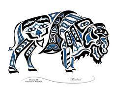 """""""Thunderer"""" - New Haida/Tlingit Style, Native American Bison, Buffalo Native American Totem, Native American Artwork, Native American Symbols, Native American Design, Native Design, American Indian Art, American Bison, American Women, American Indians"""