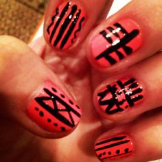 Tribal nails nail art design - easy using only 2 colors