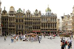 Brussels - Town square  What I remember was that it was full of life with hustle and bustle...and there was a Godiva shop there