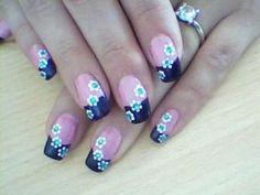 Pink & Blue Flower Nail art
