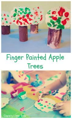 Finger Painted Apple Trees fun craft to accompany the book Ten Apples on Top by Dr Seuss also easy autumn / fall craft for toddlers and preschoolers. (fall crafts for kids toddlers)