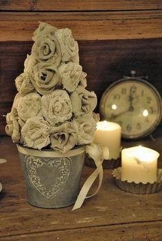 Burlap Rose Tree....lovely!