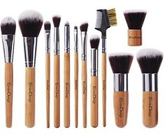 EmaxDesign 12 Pieces Makeup Brush Set Professional Bamboo Handle Premium Synthetic Kabuki Foundation Blending Blush Concealer Eye Face Liquid Powder Cream Cosmetics Brushes Kit With Bag >>> Awesome product. Click the image : Beauty And Cosmetics Cheap Makeup Brushes Set, Best Cheap Makeup, Affordable Makeup Brushes, Eye Makeup Brushes, It Cosmetics Brushes, Makeup Brush Set, Best Makeup Products, Makeup Tools, Liquid Makeup