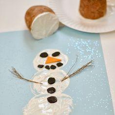 Snowman Potato Printing