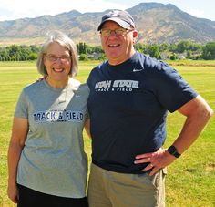 Steve and Dona Reeder stand on the newly renamed Steve and Dona Reeder Cross Country Course at Utah State University. Steve spent 35 years as a distance coach for the Aggies' cross country and track and field programs. (Photo by John Zsiray)