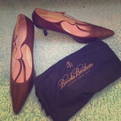 Brooks Brothers Heels These shoes have never been worn before! Comes with shoe bag! Very cute and handmade in Italy. Great deal considering they've never been worn. Beautifully crafted Brooks Brothers Shoes Heels