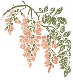 Art Nouveau Pink Flower Vine