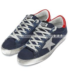2015-2016 Golden Goose Deluxe Brand Super Star Low Sneakers GGDB Handmade Womens Canvas/Navy Blue-Red/Silver Star Couples Shoes