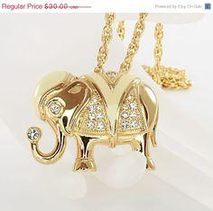 KJL for Avon Elephant Brooch Necklace Rhinestone by RMSjewels, $24.00