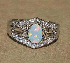 white fire opal Cz ring gemstone silver plate jewelry Sz 7 chic cocktail style K #Cocktail