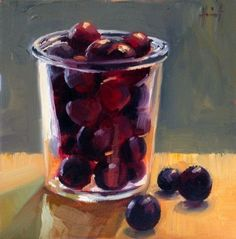 Dark Purple Plums, painting by artist Liza Hirst
