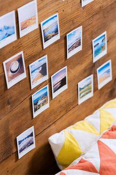 Travel memory headboard using Polaroids!