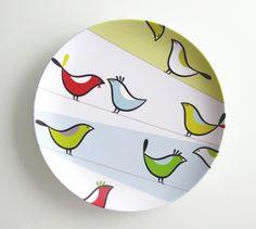 Illustrative 'Pit Pit' plates: Illustrative melamine 'Pit Pit' plates