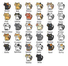 All 32 Neko Atsume Cross Stitch Patterns by SnailFishesStitches