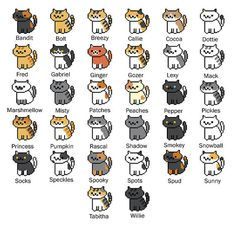 All 32 Neko Atsume Cross Stitch Patterns by SnailFishesStitches