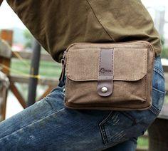 Men's Small Brown Canvas Shoulder Messenger Fanny Waist Pack Bag Purse Wallet