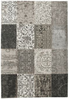 Louis De Poortere Vintage Patchwork Black and White Rug. Perfect modern rugs for in living room, dining room or for as kitchen rugs. Large rugs and small rugs available at Modish Living. Shop Louis de Poortere rugs with free UK delivery. Patchwork Rugs, Patchwork Designs, Black White Rug, White Rugs, Rustic Colors, Machine Made Rugs, Oeko Tex 100, Grey Rugs, Modern Rugs