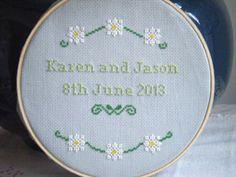 Custom Wedding Marriage Gay Marriage Anniversary Engagement Cross Stitch Sampler  Saving for that border flourish
