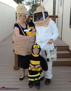 Homemade Bee Costume, Beehive Costume and Beehive Keeper. Family Halloween Costume Ideas on Frugal Coupon Living Many more crafty and DIY Halloween Costume Ideas for the family or multiple people.